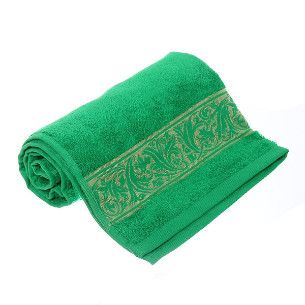 Махровое полотенце 50*90см зеленая листва с бордюром купить оптом и в розницу