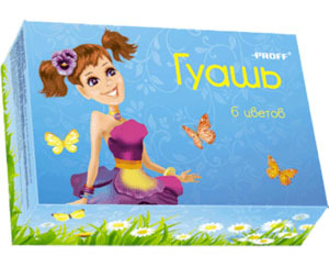 Краски гуашь 6цв PROFF Девочки-цветочки (20 см3) купить оптом и в розницу