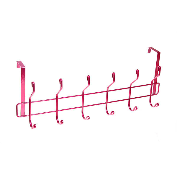 Вешалка надверная 6 крючков 50х19см HP004-C розовая купить оптом и в розницу