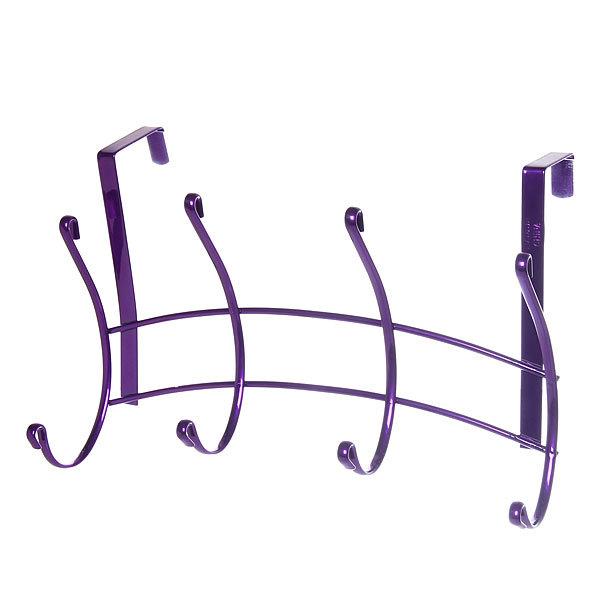 Вешалка надверная 4 крючка 28х18см HP135-C фиолетовая купить оптом и в розницу