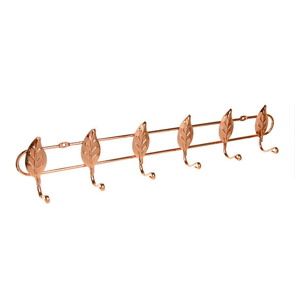 Вешалка настенная 6 крючков 44х8,5см G-5026 листик купить оптом и в розницу