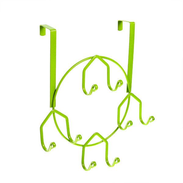 Вешалка надверная 8 крючков 25х30см HP143-C зеленая купить оптом и в розницу