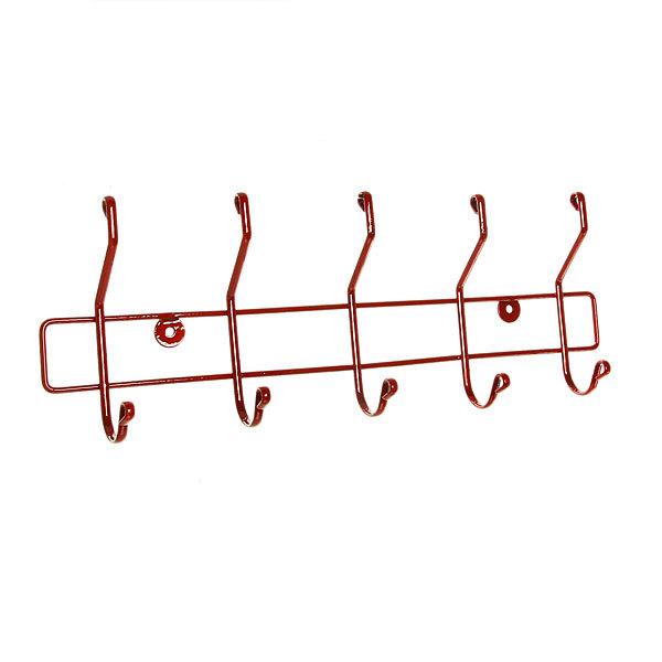 Вешалка настенная 5 крючков 42х14,5см HP008-DC красная купить оптом и в розницу