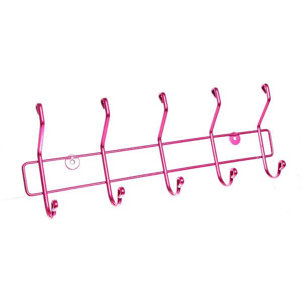 Вешалка настенная 5 крючков 42х14,5см HP008-DC розовая купить оптом и в розницу