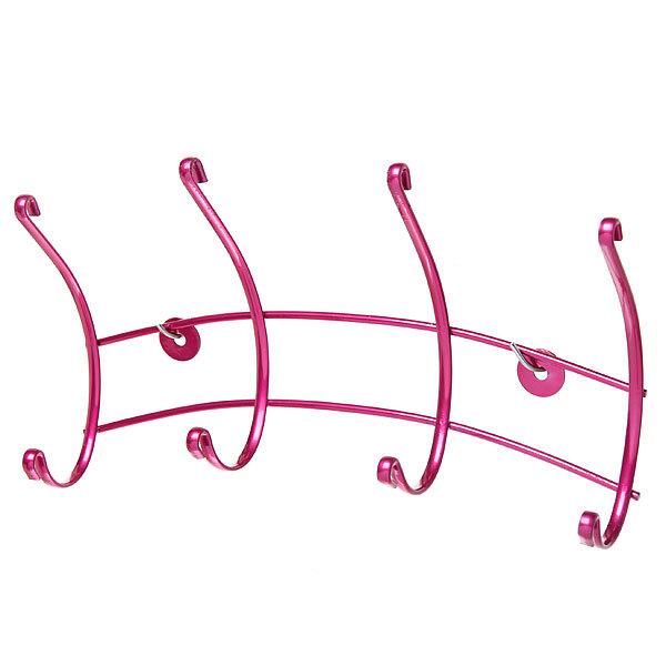 Вешалка настенная 4 крючка 28х13см HP135-DC розовая купить оптом и в розницу