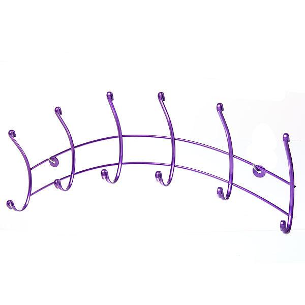 Вешалка настенная 6 крючков 45х13см HP133-DC фиолетовая купить оптом и в розницу