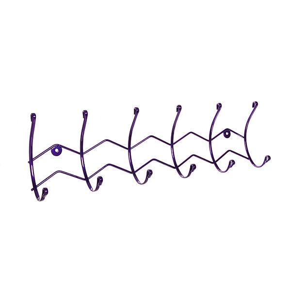 Вешалка настенная 6 крючков 47х15см HP124-DC фиолетовая купить оптом и в розницу
