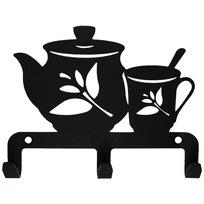 Крючок универсальный, серия ″Кухня″, модель ″Чайник с чашкой - 3″, цвет черный купить оптом и в розницу