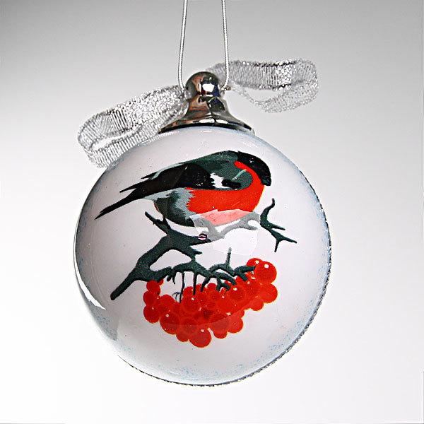 Новогодний шар ″Снегири″ 7см купить оптом и в розницу