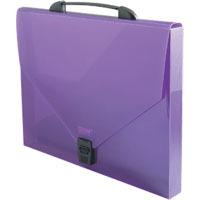 Папка-портфель на замке 900мк PROFF Next 35мм фиолетовая полупрозрачная купить оптом и в розницу