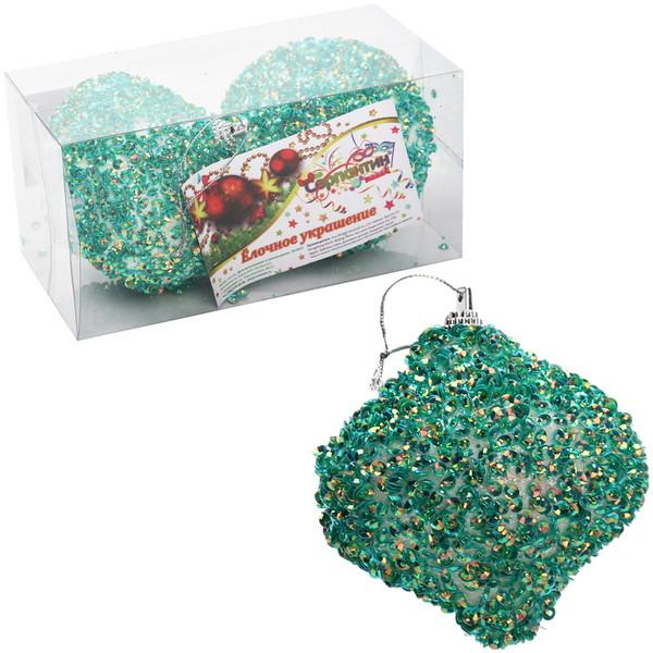 Новогодние шары ″Изумрудная Юла″ 8см (набор 2шт.) купить оптом и в розницу