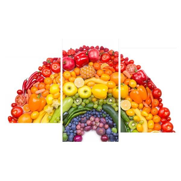 Картина модульная триптих 55*96 Радуга из овощей и фруктов 56-01 купить оптом и в розницу