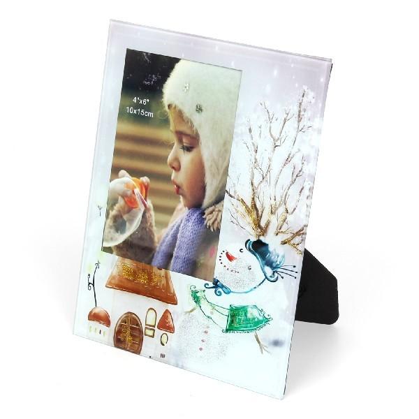 Фоторамка из стекла ″Новогоднее настроение″ 10х15см снеговик купить оптом и в розницу