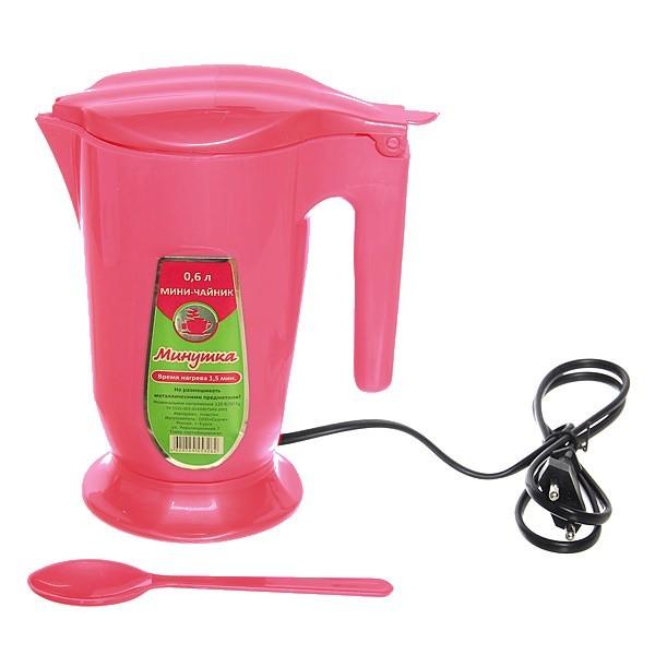 Чайник электрический Минутка 0,6 л розовый купить оптом и в розницу