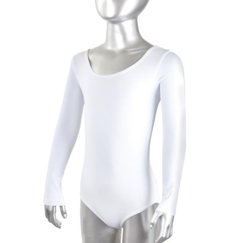 Купальник гимнастический х/б длинный рукав белый р. 34 купить оптом и в розницу