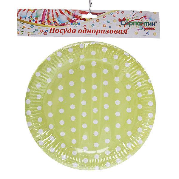 Тарелка бумажная 23 см в наборе 10 шт ″Горошек″ купить оптом и в розницу