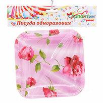 Тарелка бумажная в наборе 10 шт 15*15 см ″Цветочная феерия″ купить оптом и в розницу