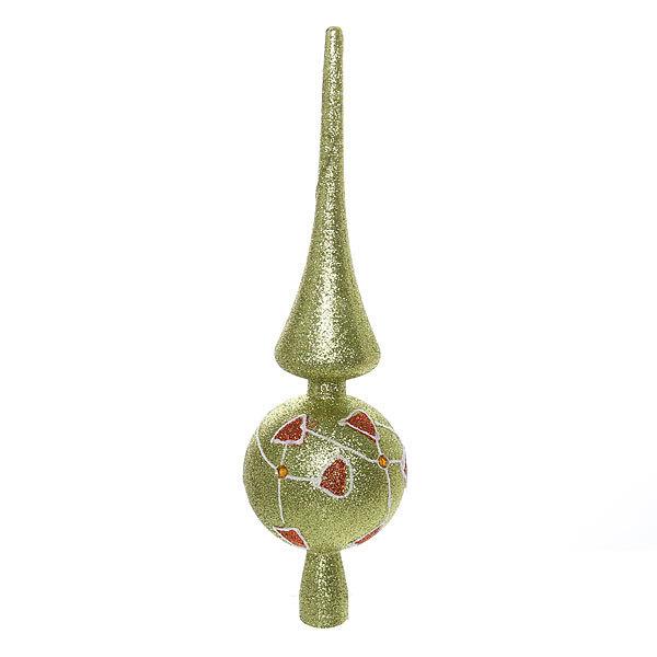 Верхушка на ёлку золотисто-зеленая 28см ″Красный узор″ купить оптом и в розницу