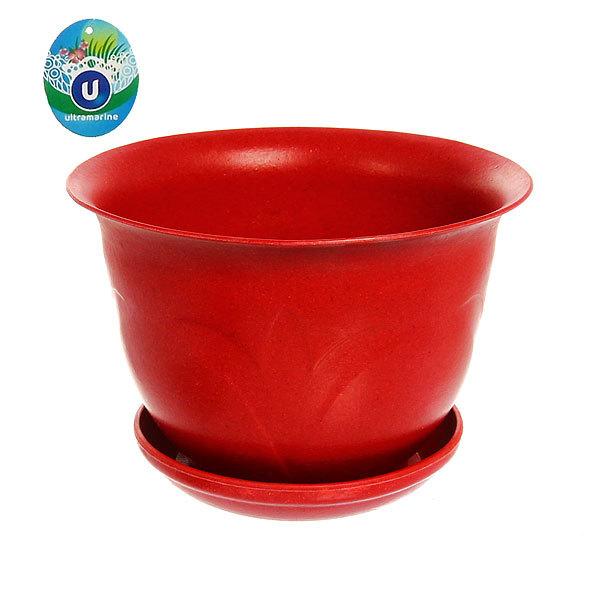 Горшок для цветов ЭКО Тюльпаны″ 18*23см 4А красный купить оптом и в розницу