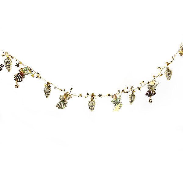 Бусы на ёлку золото 1,5м ″Ангелочки, шишки и звездочки″ купить оптом и в розницу