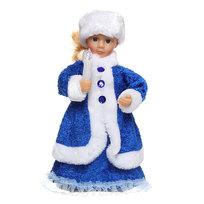 Снегурочка музыкальная 30см со свечой в синем платье купить оптом и в розницу