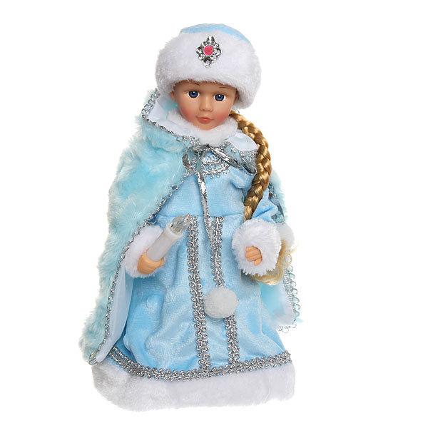 Снегурочка музыкальная 30см со свечкой, длинная коса купить оптом и в розницу