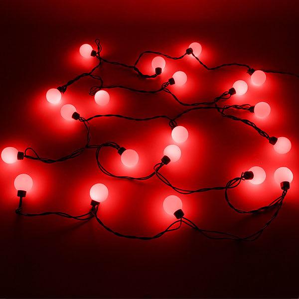 Гирлянда светодиодная 4,5м, 20 ламп LED, Шар 40мм Красный, 8 режимов, черн.провод купить оптом и в розницу