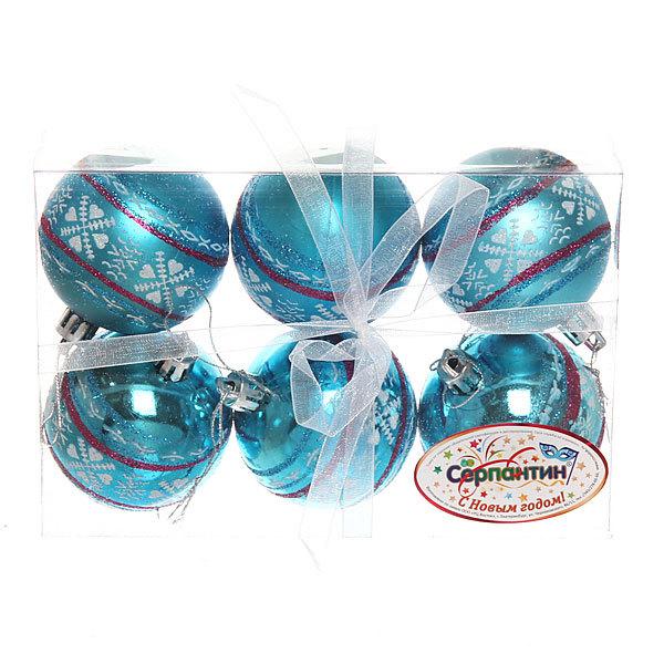 Новогодние шары ″Новогодний Узор″ 6см (набор 6шт.) купить оптом и в розницу