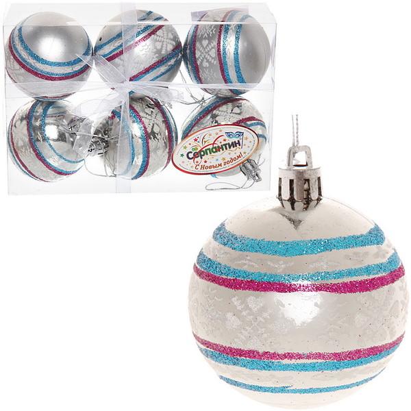 Новогодние шары ″Новогодний Узор на жемчужине″ 6см (набор 6шт.) купить оптом и в розницу