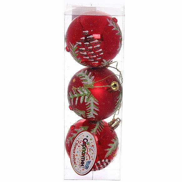 Новогодние шары ″Новогодняя шишечка на рубине″ 7см (набор 3шт.) купить оптом и в розницу