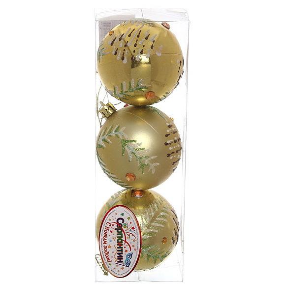 Новогодние шары ″Новогодняя шишечка на золоте″ 7см (набор 3шт.) купить оптом и в розницу