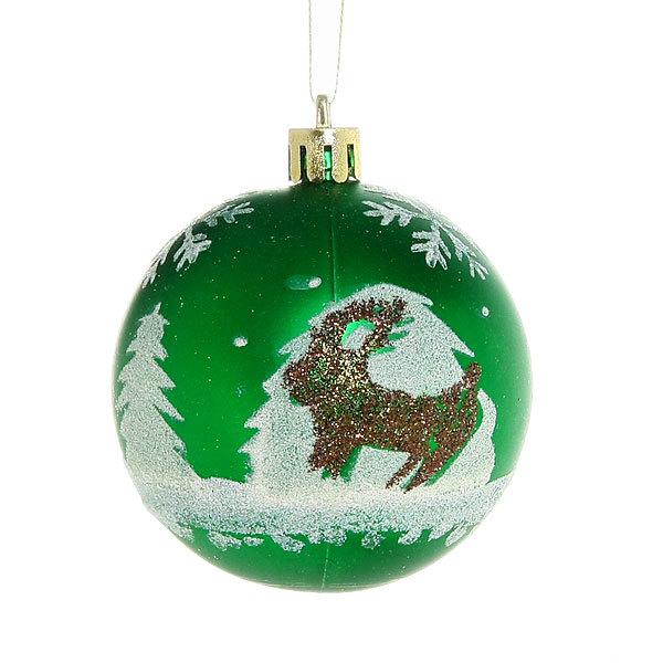 Новогодние шары ″Серебряное копытце в изумрудном лесу″ 7см (набор 3шт.) купить оптом и в розницу