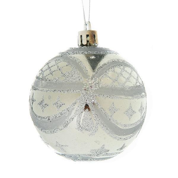 Новогодние шары ″Серебряный узор″ 7см (набор 6шт.) купить оптом и в розницу