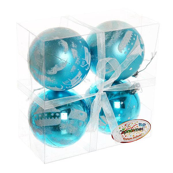 Новогодние шары ″Ледовый домик″ 8см (набор 4шт.) купить оптом и в розницу