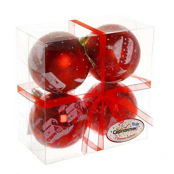 Новогодние шары ″Рубиновый домик″ 8 см (набор 4шт.) купить оптом и в розницу
