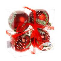 Новогодние шары ″Рубиновая шишечка″ 8см (набор 4шт.) купить оптом и в розницу