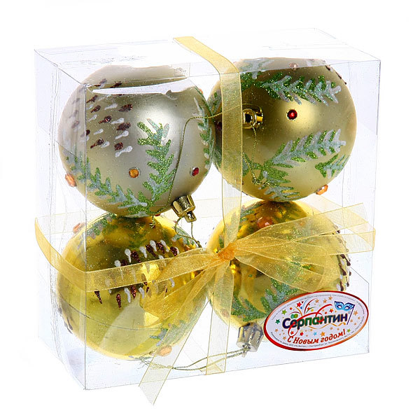Новогодние шары ″Золотая шишечка″ 8см (набор 4шт.) купить оптом и в розницу