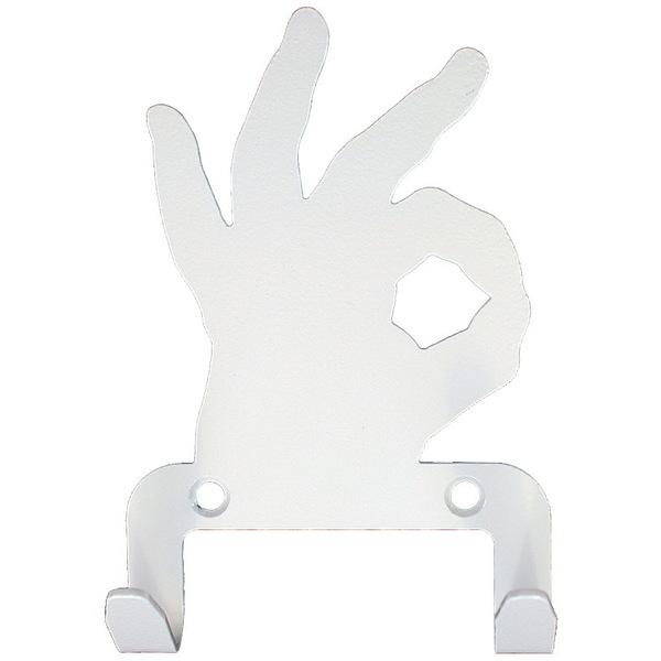 Крючок универсальный, серия ″Жесты″, модель ″Окей - 2″, цвет белый купить оптом и в розницу
