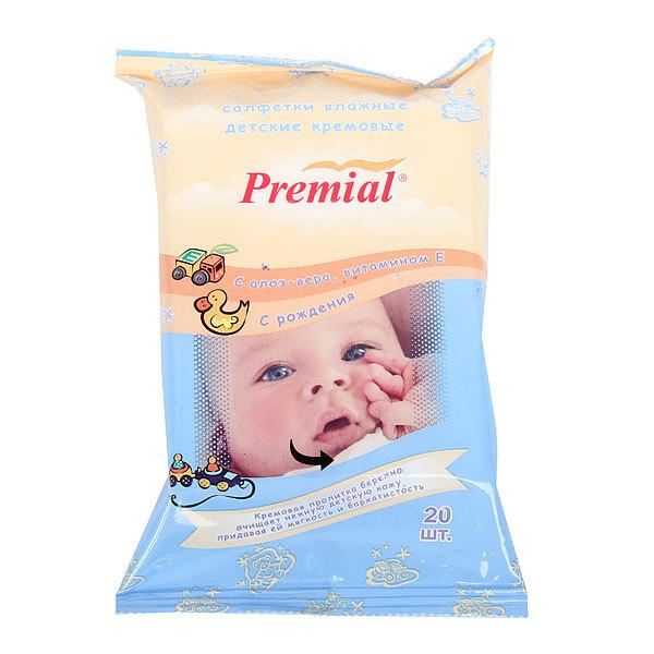 Салфетки влажные детские 20шт «Premial» для гигиены очищающие кремовые 1/20/24 купить оптом и в розницу