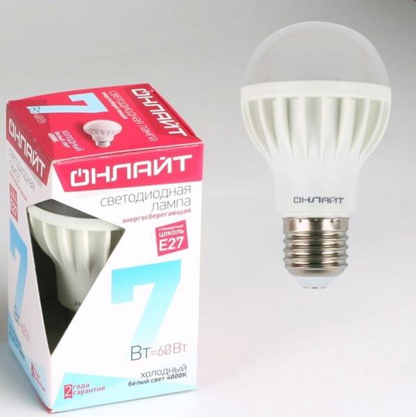 Лампа светодиодная ОНЛАЙТ ОLL-A60-7-230-4K-E27 (10/100) купить оптом и в розницу