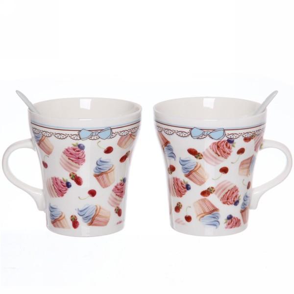 Чайный набор 4 предмета ″Сластена″ (2кружки 300мл+2ложки) 3 купить оптом и в розницу