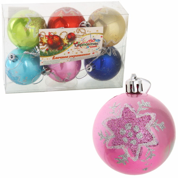 Новогодние шары (6шт) d-6см S-13041/6 купить оптом и в розницу
