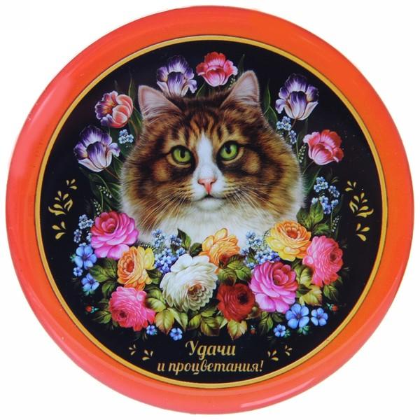 Магнит виниловый с заливкой ″Удачи и процветания!″, Жостовская кошка купить оптом и в розницу