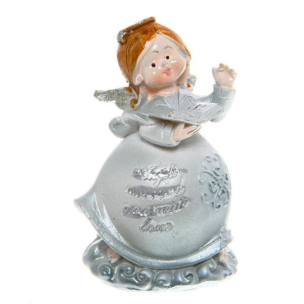Фигурка ″Ангелочек серебряный″ с книжкой 4*6,5 см купить оптом и в розницу