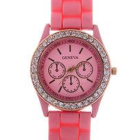 Часы наручные на силиконовом ремешке со стразами Женева, цвет розовый купить оптом и в розницу
