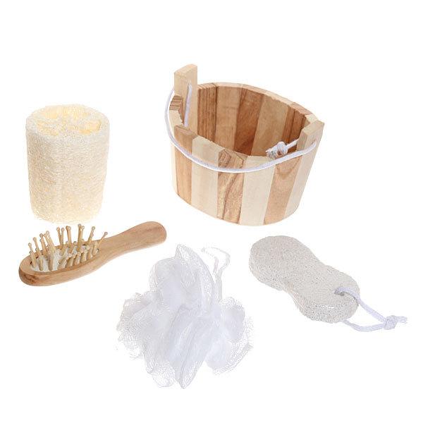 Банный набор в деревянной кадушке из 4 предмета ″Банька″ (расческа, пемза и две мочалки) купить оптом и в розницу