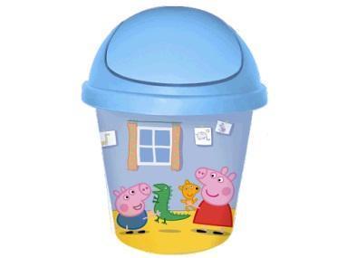 """Детская мусорная корзина круглая 7л. """"Свинка Пеппа"""" голубой""""*10 купить оптом и в розницу"""
