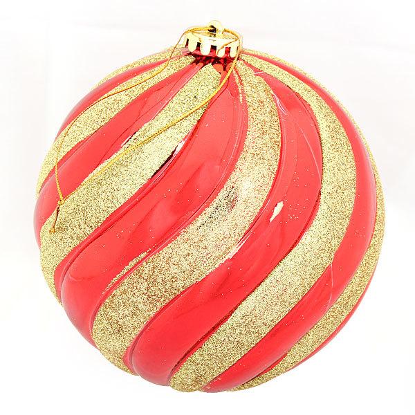 Новогодний шар ″Красные линии″ 15см купить оптом и в розницу