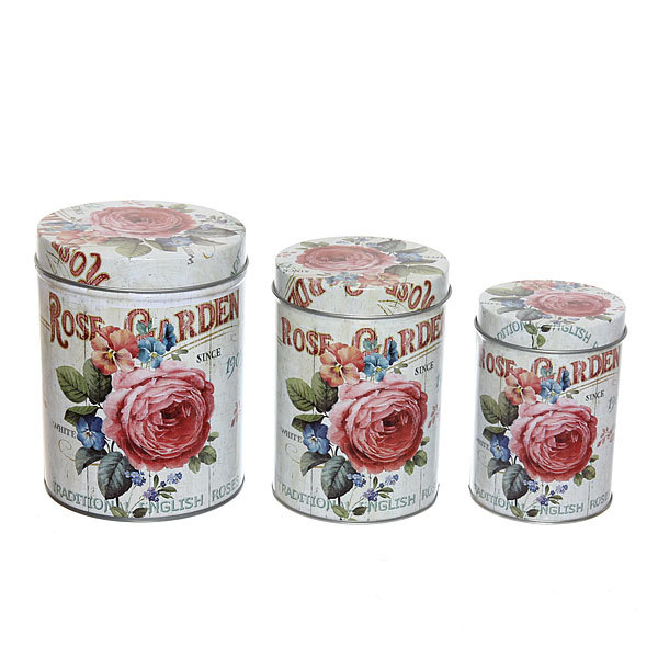 Набор банок для продуктов металлических 10.5х14см, 9х13см, 7,5х11см розы купить оптом и в розницу