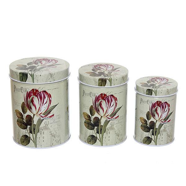 Набор банок для продуктов металлических 10.5х14см, 9х13см, 7,5х11см пионы купить оптом и в розницу